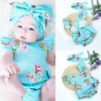 Newborn Baby Girl Floral Bodysuit Romper Jumpsuit Clothes Outfits Hairband Suit