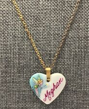 """Disney Tinkerbell Ceramic Heart """"Meghan"""" Pendant With Gold Tone Necklace"""
