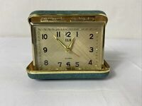 Vintage Mid Century Green  Elgin Folding Travel Alarm Clock Wind up Works