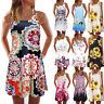 Women Retro Bohemian Summer Sleeveless Beach Printed Short O-Neck Mini Dress