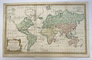 WORLD MAP DATED 1761 ROBERT DE VAUGONDY ANTIQUE ENGRAVED MAP 18TH CENTURY