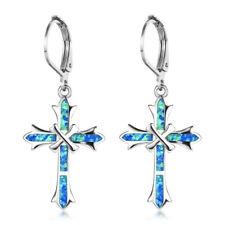 Women Unique cross Blue imitation Opal Inlay Silver Jewelry Dangle Drop Earring
