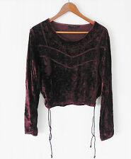 Magic Velvet Top Dark Burgundy  Crinkle Fabric Size M/L Long Sleeve Embroiderd