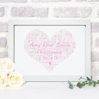 Personalised Word Art Christening Heart Print Frame Baptism Gift Baby Boy Girl