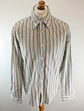 HUGO BOSS Mens Shirt L Large White Yellow Blue Pink Stripe Cotton