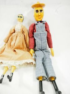 Pioneer People Hand Carved Basswood Wood Dolls by M&G Lewis