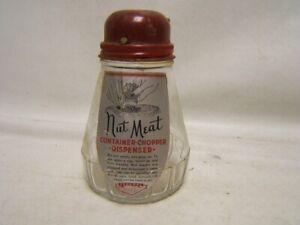 Vintage Federal Glass Nut Meat Container-Chopper-Dispenser w/ Original Label
