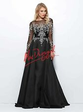 e92e2d39a92 Mac Duggal 82152R Prom Pageant Evening Gown Black Embellished Long Sleeve  Dress