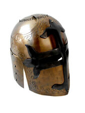 Medieval Knight Armor Crusader  Helmet Brass Antique Finish with Mason'