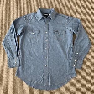 Vintage 70s WRANGLER Chambray Denim Western Pearl Snap Shirt USA 16x34 M Medium
