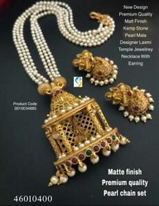 Gold Plated Indian Traditional Bollywood CZ AD New Pendent Necklace Earring lopo