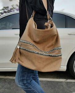 Tan Jeweled Hobo Faux Suede Beige Tassle Tote Summer Bag Embellished Studs