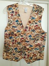 Talbots Equestrian Print Horse Vest Sleeveless Button Front Cotton Womens Size M