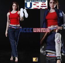 """1/6 Baseball Jacket Jeans Set For 12"""" Phicen Hot Toys Female Figure USA SELLER"""