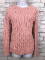 Lands End Women's Pink Drifter Cable Knit Sweater Long Sleeve Sz Tall 6-8 Small