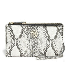 Guess Wristlet Wallet Purse Zip around Clutch Beige Snake skin print