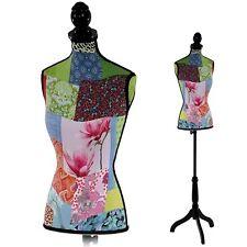 Mannequin de couture buste femme en fibres de polyester avec trépied - patchwork
