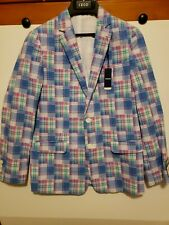 IZOD Boys Blazer Jacket Rosebud Plaid Pink Blue White - Size 14 Reg