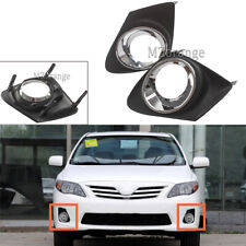 Pair Front Bumper Fog Light Lamp Grille Cover For 2011 2012 2013 Toyota Corolla