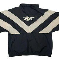 VTG 90s Reebok Windbreaker Full Zip Track Jacket Mens  Big Logo LARGE