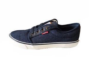 NIB Levis Men's Porter II Stripe Fashion Sneaker Canvas Navy Size 9M-US