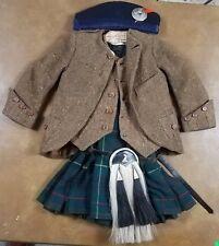 Antique Scottish Child's Kilt w Accessories Jacket Vest Socks Sporran Cap Badge
