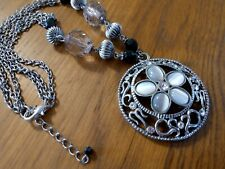 Beaded Statement Chunky Necklace Round Beaded Simulated Moonstone Silver Tone
