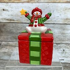 Fitz & Floyd 2009 Holiday Folk Snowman Present Ceramic Lidded Box Original Box