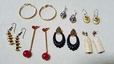 7 Pair Vintage Pierced Earrings Hoop & Dangle  Some  Fishook Backs