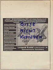 LÜDENSCHEID, Werbung 1938, Leopold Kostal Siko-Winkel-Fuss-Abblend-Schalter