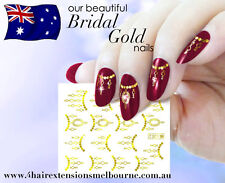 NAIL ART WATER TRANSFERS STICKERS DECALS! Bridal Design Gold/ Silver Chain Art!!
