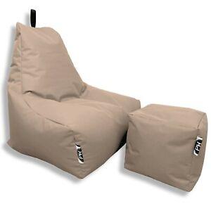 Patchhome Lounge Sillón Taburete en Juego Styrofoam Lleno con Cremallera Nuevo