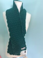 NWT Burberry Green Cable Knit Scarf Wool/Angora
