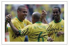RONALDINHO ROBERTO CARLOS RONALDO BRAZIL AUTOGRAPH SIGNED PHOTO PRINT SOCCER
