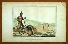 LUTTO VEDOVE, INDIANO D'AMERICA incisione stampa originale acquerellato 1841