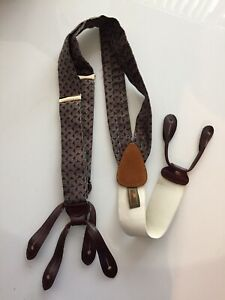 Vintage Trafalgar Suspenders Braces Leather Strap Burgundy Grey Silver Triangle