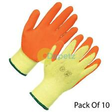 10 x PAIRS LATEX COATED BUILDERS SAFETY GRIP WORK GLOVES MENS EXTRA LARGE
