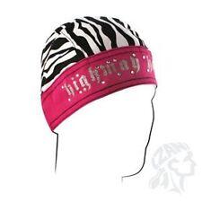 Highway Honeys Zebra Pink Sweatband Headwrap Skull Cap Women's Durag Rhinestone