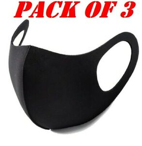 Pack 3 Face Mask Protective Covering Washable Reusable Black Adult Unisex UK