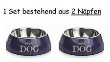 Melamin Hundenapf Doppelnapf Futternapf Fressnapf mit Silikon Doppelset 3 Größen