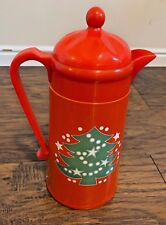 "Vintage Red Waechtersbach Christmas Carafe Thermos 12"" Hot/Cold Green Tree"