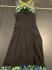 Black Dress With Neon Jungle Trim Ice Skating Dress Adult Small