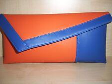 ORANGE & ROYAL BLUE asymmetrical faux leather Clutch bag. Handmade!