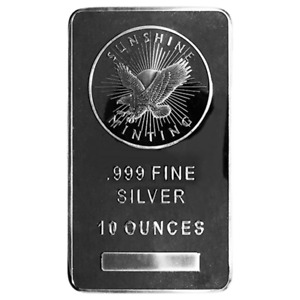 10 Troy oz Sunshine Mint .999 Fine Silver Bar Mint Mark SI