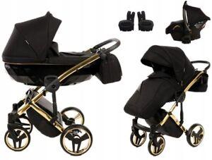 Junama Diamond S Gold Black Baby Pram Stroller Pushchair Travel System + FREE