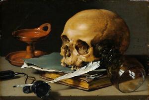 Oil painting pieter claesz 虚空派静物油画 vanitas still life skull cranium on book art