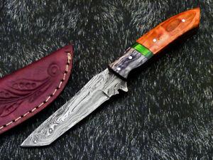 """DAMASCUS STEEL 8.0"""" HANDMADE FULL TANG SKINNING KNIFE - HARD WOOD - PS-387"""