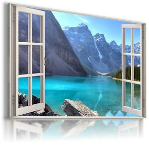MOUNTAINS RIVER WINTER 3D Window View Canvas Wall Art Picture  W116 MATAGA .