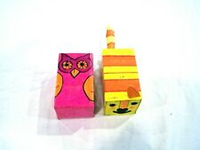 set of 2 paper mache Christmas ornaments owl and cat