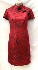 Sexy Exotic Mysterious Chinese Red Mandarin Collar Silky Satin Dress Size 10-12